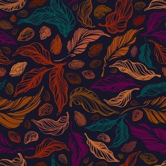 Vintage nahtloses muster textur laub hand gezeichnete kunst nüsse blatt