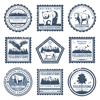 Vintage nationalpark briefmarken mit inschriften tragen büffel puma adler und naturlandschaften isoliert
