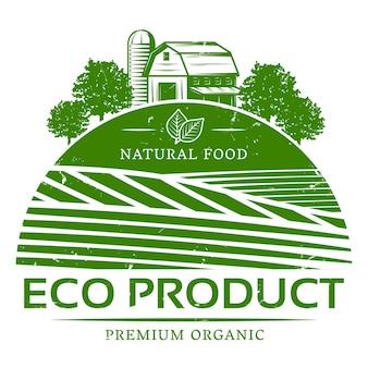 Vintage natürliche landwirtschaftliche grüne etikettenschablone