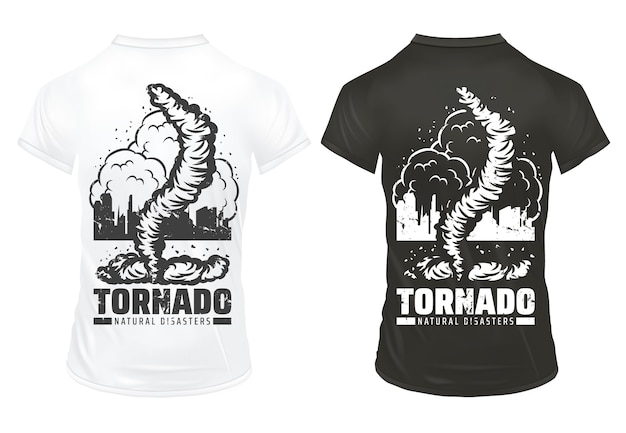 Vintage naturkatastrophe druckt vorlage mit beschriftungstornado beschädigte stadt auf schwarzweiss-hemden lokalisiert