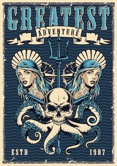 Vintage nautische bunte plakat