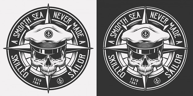 Vintage nautisches monochromes emblem