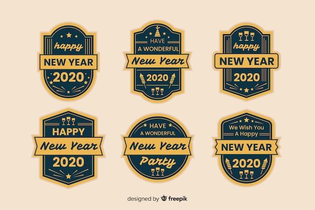 Vintage neujahr 2020 etikettendesign