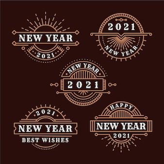 Vintage neujahr 2021 abzeichen sammlung