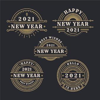Vintage neujahr 2021 etikettenkollektion