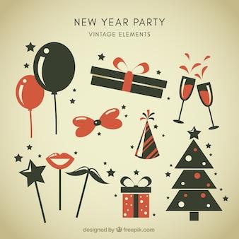 Vintage neujahr party-elemente