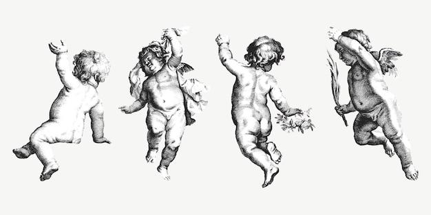 Vintage niedlichen cherub-satz