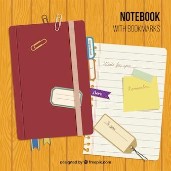 Vintage-notebook mit zubehör