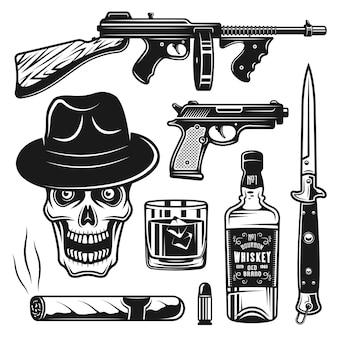 Vintage-objekte von mafia und gangstern