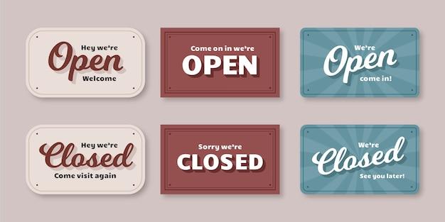 Vintage offene und geschlossene schildpackung