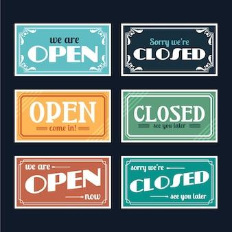 Vintage offene und geschlossene schildsammlung