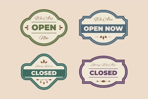 Vintage offenes und geschlossenes schildset