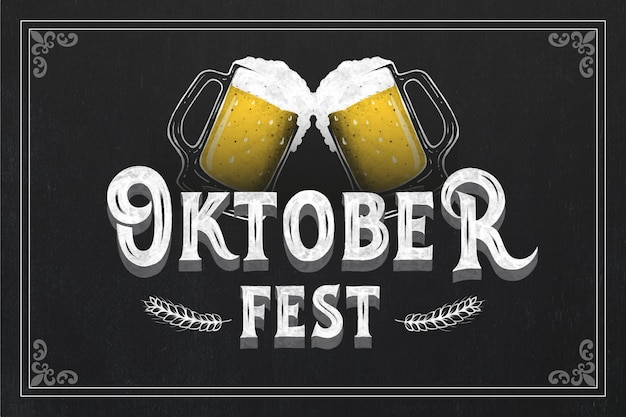 Vintage oktoberfest illustration mit bier