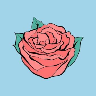 Vintage old school flash rose tattoo design symbol vektor