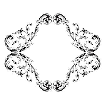 Vintage ornament element im barockstil mit filigraner und floraler gravur.