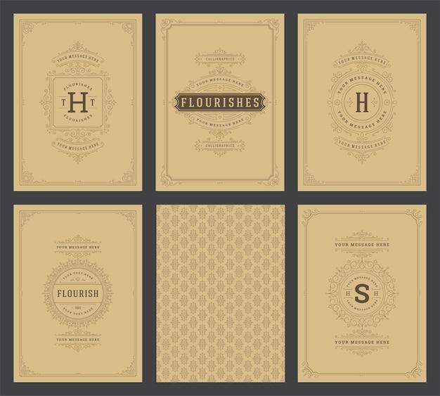 Vintage ornament grußkarten set vorlagen gedeiht zierrahmen und muster