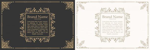 Vintage ornament zitat marks box frame vorlage design und platz für text. retro blüht rahmen tafel stil.