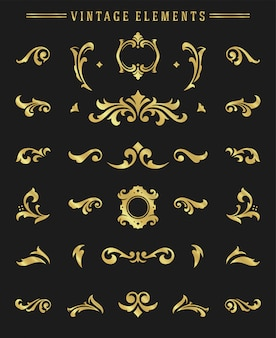 Vintage ornamente vignetten legen florale elemente für das design