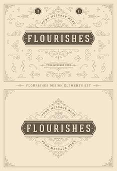 Vintage ornamente wirbeln und vignettendekorationen designelemente setzen illustration