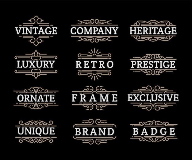 Vintage ornamente wirbelt und rollt dekorationen design-elemente gesetzt