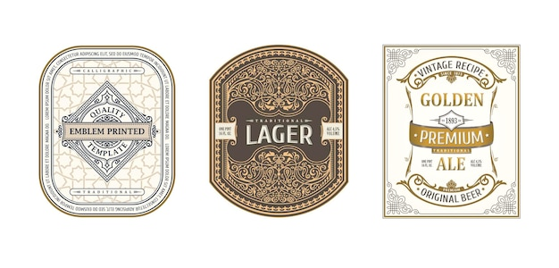 Vintage ornamentrahmen für etiketten bierflaschen und dosen