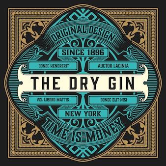 Vintage ornate gin label.