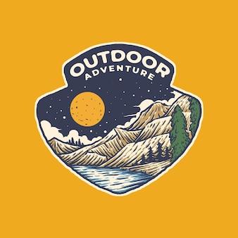 Vintage outdoor-abenteuer-illustration