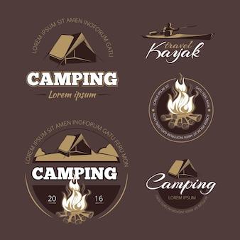 Vintage outdoor-abenteuer und camping vektor farbetiketten gesetzt. beschriften sie outdoor-camping, vintage-camping, logo-abenteuer-camping-illustration