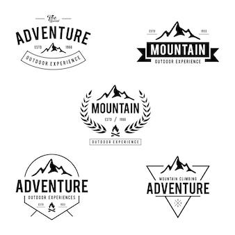 Vintage outdoor berg etiketten und abzeichen