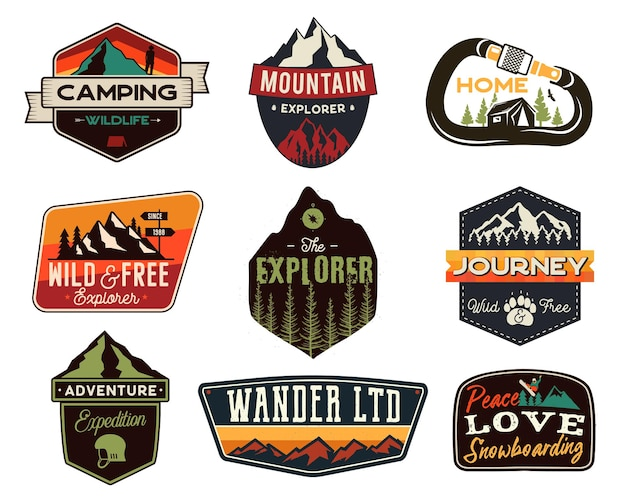 Vintage outdoor-logos eingestellt. handgezeichnete bergreiseabzeichen, wildtierembleme. camping-etiketten-konzepte. entdecker illustrationen. vektor-patches isoliert auf weißem hintergrund.