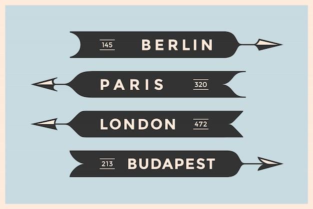 Vintage pfeile und banner mit namen verschiedener städte