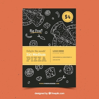 Vintage pizza broschüre mit skizzen