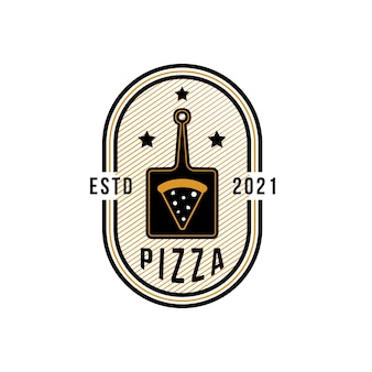 Vintage pizza-logo-vorlage für pizzarestaurant oder café. symbole für speisen und getränke und restaurants vektorgrafiken