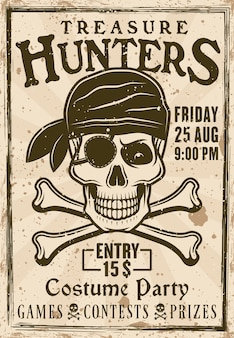 Vintage-plakat der piratenkostümparty mit illustration der überschriftenschatzjäger