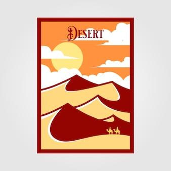 Vintage-plakat der wüstenlandschaft