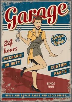 Vintage-plakat des retro-garagenreparaturdienstes