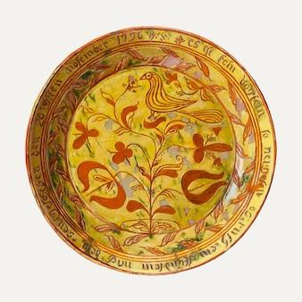 Vintage plate vector illustration, remixed aus dem artwork von eugene shellady