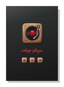 Vintage player vinyl. plattenspieler spielt vinyl. plattenspieler und hölzerne navigationstasten im retro-stil. retro musik konzeptdesign. illustration