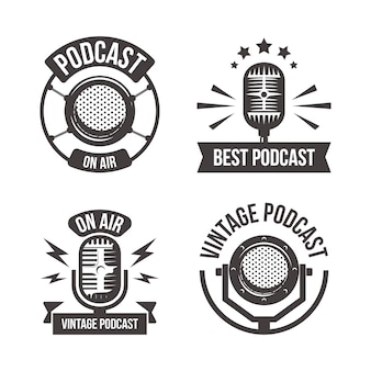Vintage podcast logo set