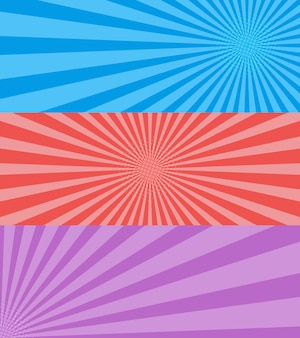 Vintage pop-art, blau, rot, lila hintergrund. banner-vektor-illustrationen.