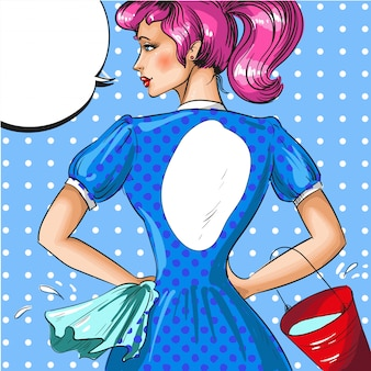 Vintage pop-art-illustration der putzfrau