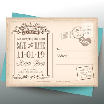 Vintage postkarte des datums hintergrund für hochzeitseinladung speichern