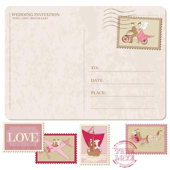 Vintage postkarte mit briefmarken