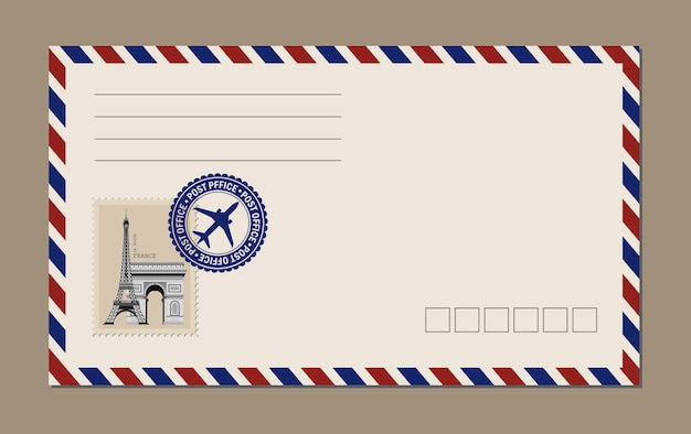 Vintage postkarte, umschläge und briefmarken. eiffelturm postkarte.