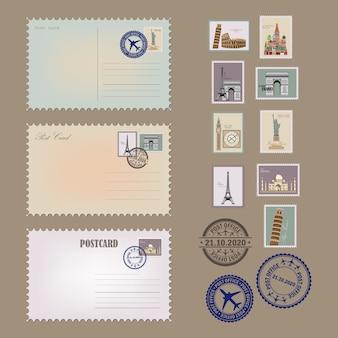 Vintage postkarte, umschläge und briefmarken. postkartensammlung.