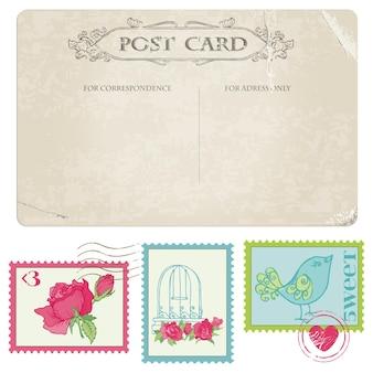 Vintage postkarte und briefmarken - für hochzeitsentwurf