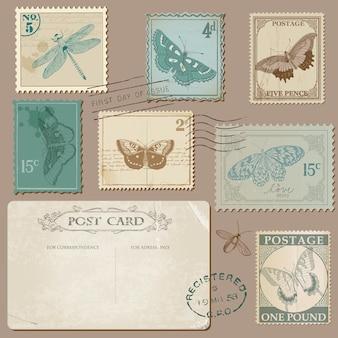 Vintage postkarte und briefmarken mit schmetterlingen