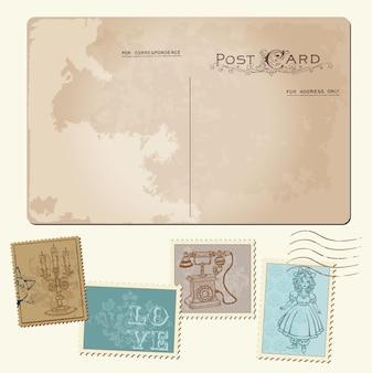 Vintage postkarte und briefmarken