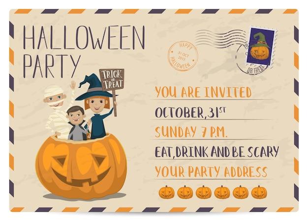 Vintage postkarten-einladungskarte der halloween-party