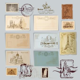 Vintage postkarten-set
